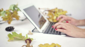 Close up on woman's hands typing on her laptop in bright studio stock video