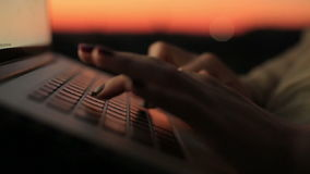 Close up of woman's hands typing on the laptop's keyboard on sunset. Young business woman in working process.  stock video