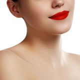 Close-up of woman's lips with bright fashion red makeup. Macro b Royalty Free Stock Image