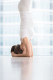 Close up of woman in salamba sirsasana near floor window. Closeup of Young woman practicing yoga, standing in salamba sirsasana exercise, headstand pose, working Royalty Free Stock Images