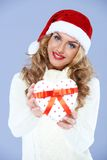 Close up of woman in Santa hat stock photos