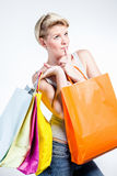 Close up of a woman with shopping bags Stock Photo
