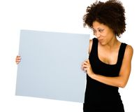 Close-up of a woman showing placard Stock Photography