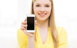Close up of woman showing smartphone blank screen Royalty Free Stock Photography
