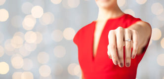 Close up of woman showing wedding ring on her hand Royalty Free Stock Image