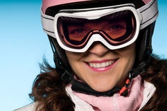 Close-up of woman with ski goggles Royalty Free Stock Images