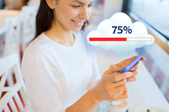 Close up of woman with smartphone cloud computing Royalty Free Stock Photography