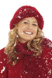 Close-up of woman in snow Royalty Free Stock Photos