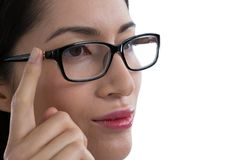Close-up of woman in spectacle. Against white background Royalty Free Stock Image