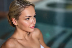 Close up of woman in swimsuit at swimming pool Royalty Free Stock Photography
