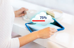 Close up of woman with tablet pc cloud computing Royalty Free Stock Image
