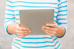 Close up of woman with tablet pc outdoors Royalty Free Stock Photos