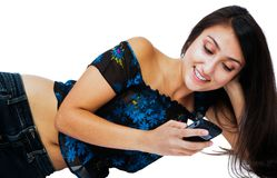Close-up of a woman text messaging Royalty Free Stock Images