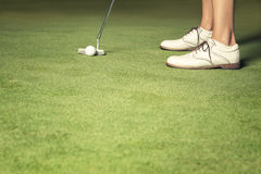 Close up of woman about to make a putt. Close up of golf player with putter and ball putting on green Royalty Free Stock Images