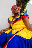 Close up of woman in traditional costume in Cartagena de Indias, Colombia stock images
