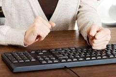 Close up woman typing on a pc keyboard Royalty Free Stock Photos
