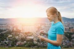Close up woman using digital tablet. Stock Image