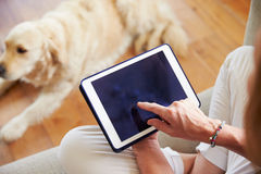 Close Up Of Woman Using Digital Tablet At Home Stock Images