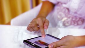 Close up woman using her cell phone. Video Stock Images