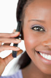 Close up of woman using her phone Stock Photography