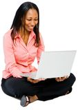 Close-up of a woman using a laptop Stock Photo