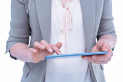 Close up of woman using tablet Royalty Free Stock Photography