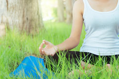 Close up woman was meditation yoga Royalty Free Stock Images