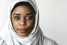 Close up of a woman wearing hijab. In a room Royalty Free Stock Image