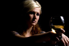 Close up on a Woman with Wine Royalty Free Stock Images