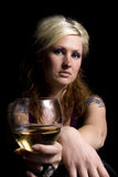Close up on a Woman with Wine Stock Photos