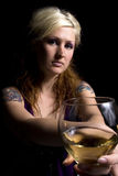 Close up on a Woman with Wine Stock Image