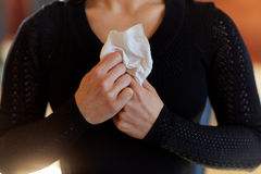 Close up of woman with wipe at funeral in church Royalty Free Stock Photos