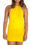 Close up woman yellow dress stock photos
