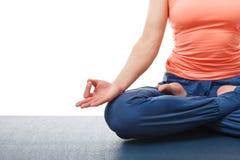 Close up of woman in yoga asana Padmasana Lotus Royalty Free Stock Images