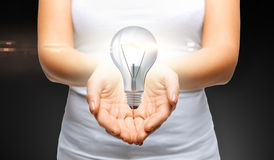 Close up of womans cupped hands with light bulb Royalty Free Stock Photo