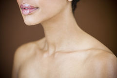 Close-up of womans head showing cheek, ear and neck Royalty Free Stock Photos