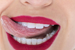 Close Up Of A Womans Lips Stock Photo