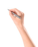 Hand with pen isolated on white stock photos