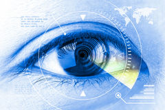 Close up women eye scanning technology in the futuristic. Stock Photography