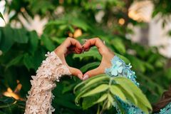 Close-up of women hands showing heart shape royalty free stock images