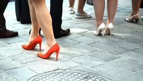 High heels. Close up women with high heels on the street surface Stock Image