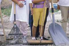 A close-up of women holding cleanup tools Royalty Free Stock Photography