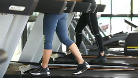 Close up of women legs accelerates from walking to running on treadmill in fitness gym. Clip of Close up of women legs accelerates from walking to running on stock video footage
