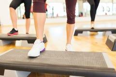 Close up of women legs steping on step platform Stock Image