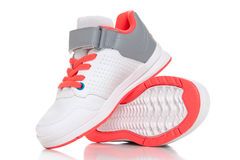 Close up of women's sport shoes on white background Royalty Free Stock Photos