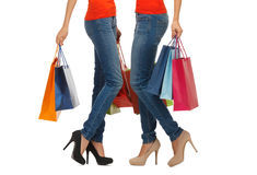 Close up of women with shopping bags Stock Images