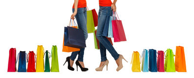 Close up of women with shopping bags royalty free stock images