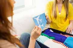 Close up of women with tickets and travel bag Stock Photography