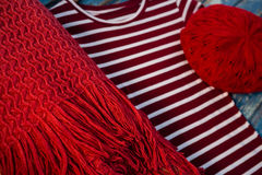 Close up of womenswear. On wooden table Royalty Free Stock Photo