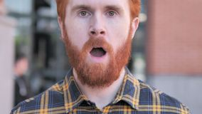 Close up of Wondering Beard Young Man, Outdoor. 4k high quality, 4k high quality stock footage